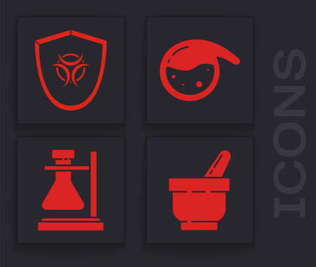 Set Mortar and pestle, Biohazard symbol on shield, Test tube and flask chemical and Test tube flask on stand icon. Vector 向量圖像