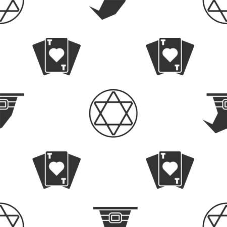 Set Witch hat, Star of David and Playing cards on seamless pattern. Vector Illusztráció