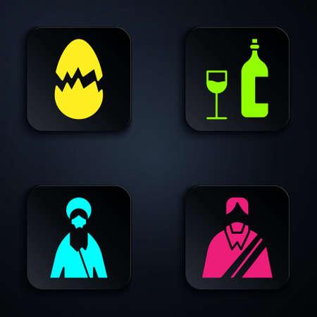 Set Jesus Christ, Broken egg, Jesus Christ and Wine bottle with glass. Black square button. Vector