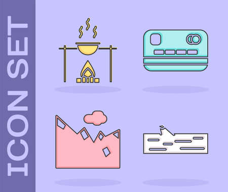 Set Wooden log, Campfire and pot, Mountains and Credit card icon. Vector Illustration