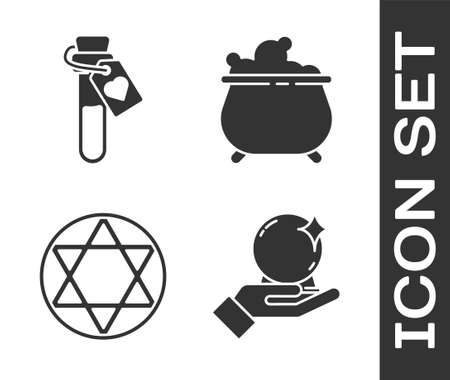 Set Magic ball on hand, Bottle with love potion, Star of David and Witch cauldron icon. Vector