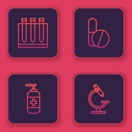 Set line Blood test and virus, Bottle of liquid antibacterial soap, Medicine pill or tablet and Microscope. Blue square button. Vector