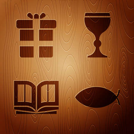 Set Christian fish, Gift box, Holy bible book and Wine glass on wooden background. Vector 矢量图像