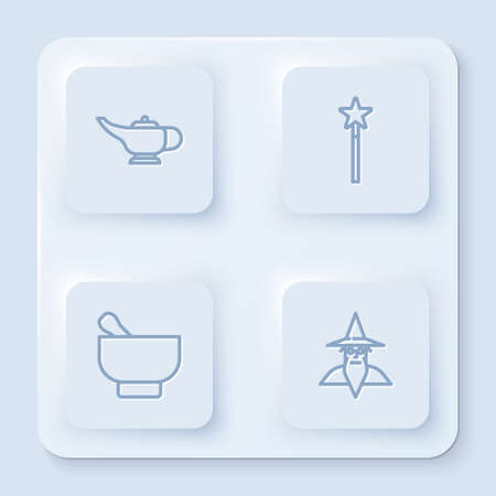 Set line Magic lamp or Aladdin, wand, mortar pestle and Wizard warlock. White square button. Vector 向量圖像