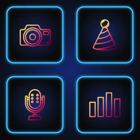 Set line Music equalizer, Microphone, Photo camera and Party hat. Gradient color icons. Vector Ilustração