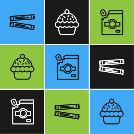 Set line Sugar stick packets, Candy packaging for sweets and Cupcake icon. Vector