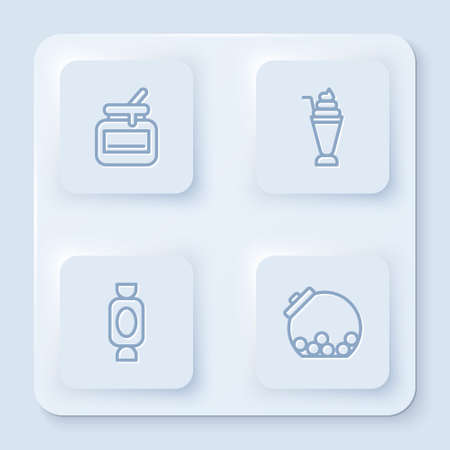 Set line Jar of honey, Milkshake, Candy and Glass jar with candies inside. White square button. Vector