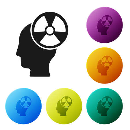 Black Silhouette of a human head and a radiation symbol icon isolated on white background. Set icons in color circle buttons. Vector