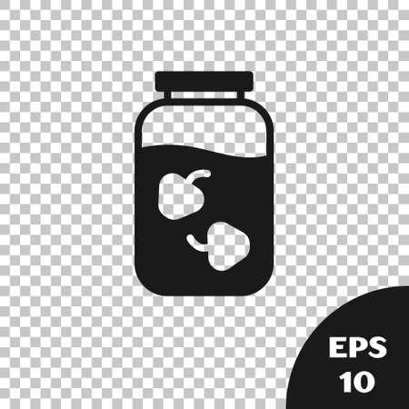 Black Strawberry jam jar icon isolated on transparent background. Vector
