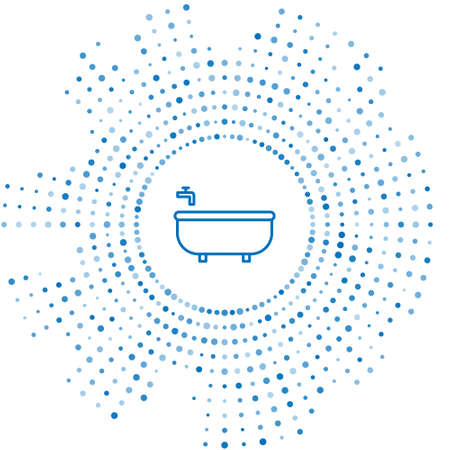 Blue line Bathtub icon isolated on white background. Abstract circle random dots. Vector Illustration