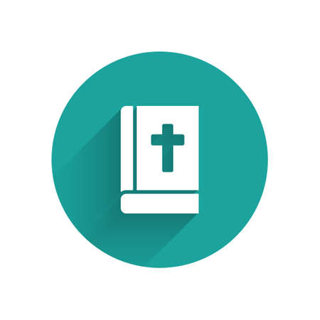 White Holy bible book icon isolated with long shadow. Green circle button. Vector
