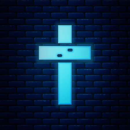 Glowing neon Christian cross icon isolated on brick wall background. Church cross. Vector