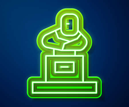 Glowing neon line Grave with tombstone icon isolated on blue background. Vector Vector Illustratie