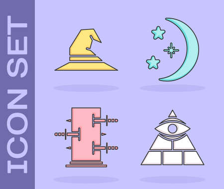 Set Masons, Witch hat, Trunk for magic tricks and Moon and stars icon. Vector Illustration
