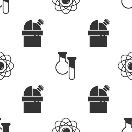 Set Atom, Test tube and flask and Astronomical observatory on seamless pattern. Vector