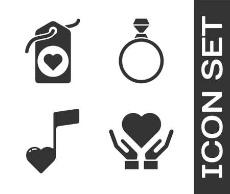 Set Heart on hand, Heart tag, Music note, tone with hearts and Diamond engagement ring icon. Vector Illustration