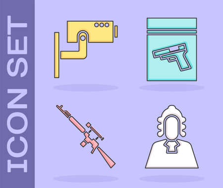 Set Judge, Security camera, Sniper rifle with scope and Evidence bag and pistol or gun icon. Vector