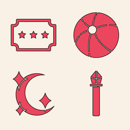 Set Magic staff, Ticket, Beach ball and Moon and stars icon. Vector