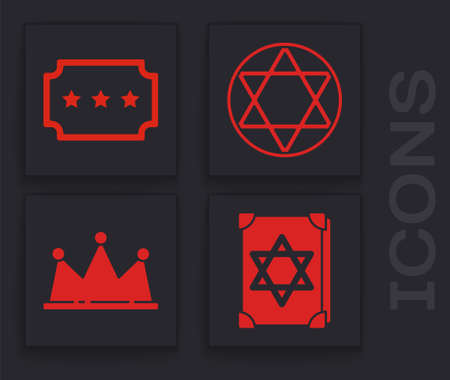 Set Ancient magic book, Ticket, Star of David and Crown icon. Vector