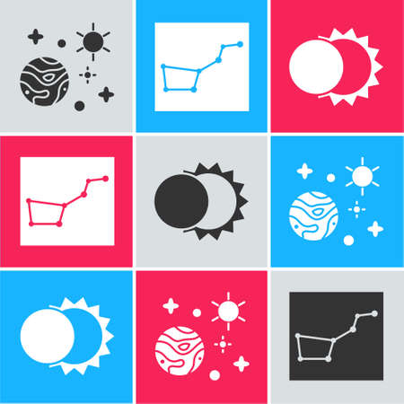 Set Space and planet, Great Bear constellation and Eclipse of the sun icon. Vector