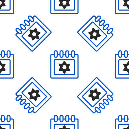 Line Jewish calendar with star of david icon isolated seamless pattern on white background. Hanukkah calendar day. Colorful outline concept. Vector