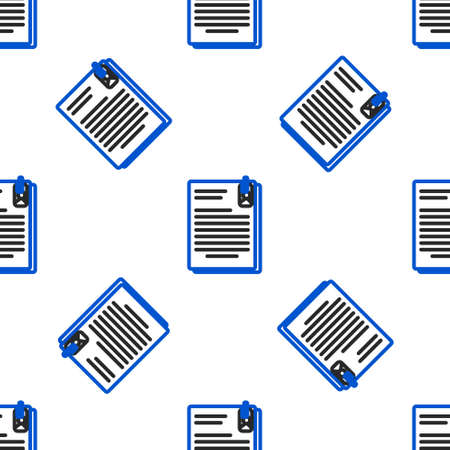 Line File document and paper clip icon isolated seamless pattern on white background. Checklist icon. Business concept. Colorful outline concept. Vector