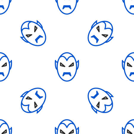 Line Vampire icon isolated seamless pattern on white background. Happy Halloween party. Colorful outline concept. Vector