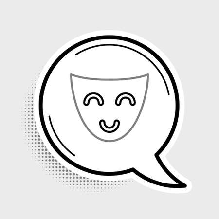Line Comedy theatrical mask icon isolated on grey background. Colorful outline concept. Vector