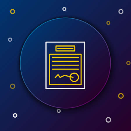 Line Filled form icon isolated on blue background. File icon. Checklist icon. Business concept. Colorful outline concept. Vector
