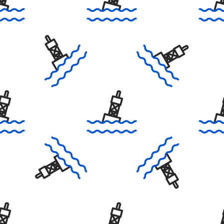 Line Floating buoy on the sea icon isolated seamless pattern on white background. Colorful outline concept. Vector