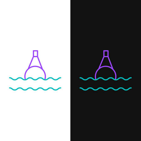Line Floating buoy on the sea icon isolated on white and black background. Colorful outline concept. Vector Иллюстрация