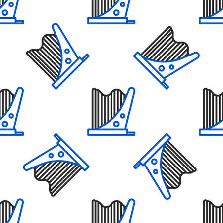 Line Harp icon isolated seamless pattern on white background. Classical music instrument, orhestra string acoustic element. Colorful outline concept. Vector