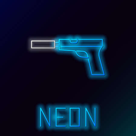 Glowing neon line Pistol or gun with silencer icon isolated on black background. Colorful outline concept. Vector Ilustrace