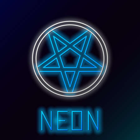 Glowing neon line Pentagram in a circle icon isolated on black background. Magic occult star symbol. Colorful outline concept. Vector