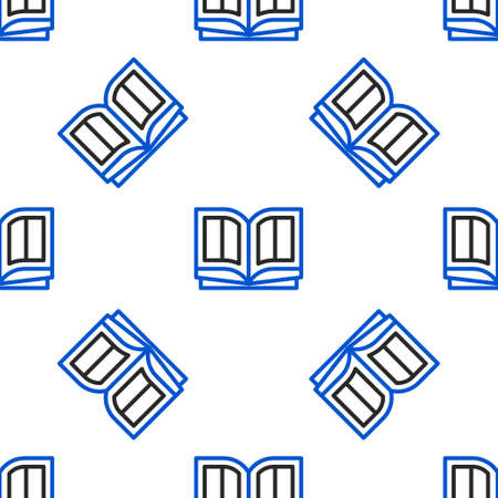 Line Holy bible book icon isolated seamless pattern on white background. Colorful outline concept. Vector Ilustração