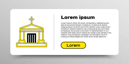 Line Old crypt icon isolated on white background. Cemetery symbol. Ossuary or crypt for burial of deceased. Colorful outline concept. Vector