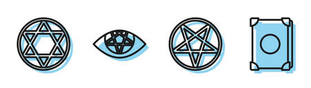 Set line Pentagram in a circle, Star of David, Pentagram and Ancient magic book icon. Vector