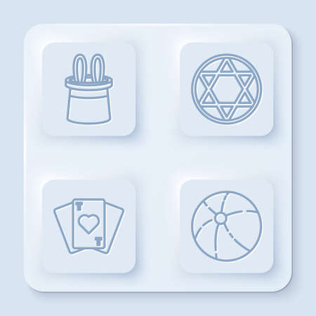 Set line Magician hat and rabbit ears, Star of David, Playing cards and Beach ball. White square button. Vector