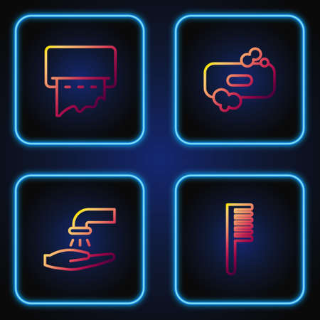 Set line Hairbrush, Washing hands with soap, Paper towel dispenser on wall and Bar of. Gradient color icons. Vector