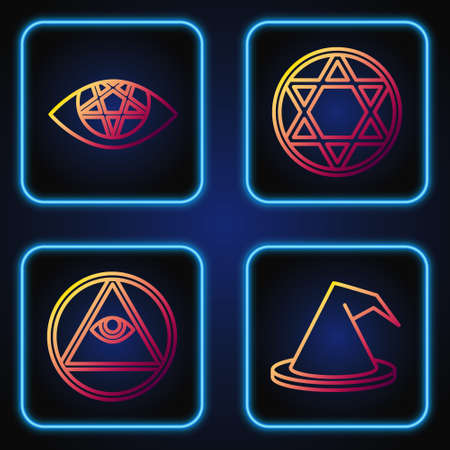 Set line Witch hat, Masons, Pentagram and Star of David. Gradient color icons. Vector