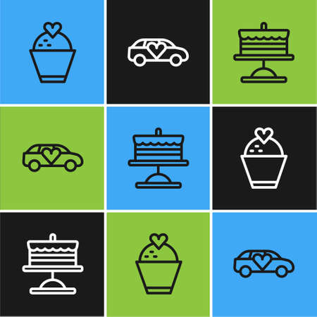 Set line Wedding cake with heart, Cake on plate and Limousine car icon. Vector