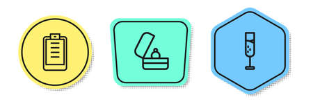 Set line Clipboard with checklist, Wedding rings and Glass of champagne. Colored shapes. Vector