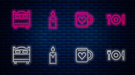 Set line Burning candle, Coffee cup heart, Bedroom and Plate, fork knife. Glowing neon icon on brick wall. Vector Illustration