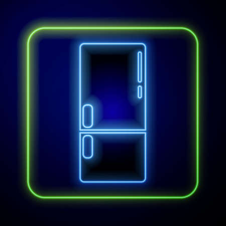 Glowing neon Refrigerator icon isolated on blue background. Fridge freezer refrigerator. Household tech and appliances. Vector