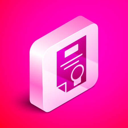 Isometric Certificate template icon isolated on pink background. Achievement, award, degree, grant, diploma concepts. Silver square button. Vector Illustration