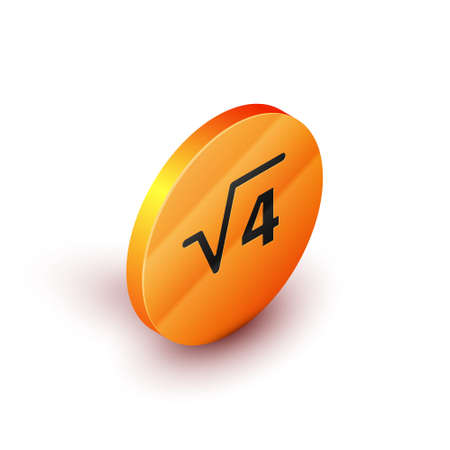 Isometric Square root of 4 glyph icon isolated on white background. Mathematical expression. Orange circle button. Vector