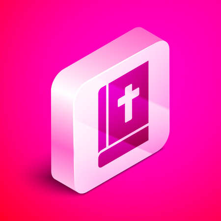Isometric Holy bible book icon isolated on pink background. Silver square button. Vector