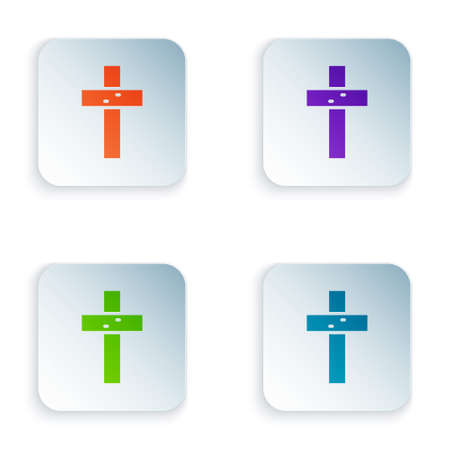 Color Christian cross icon isolated on white background. Church cross. Set colorful icons in square buttons. Vector 向量圖像