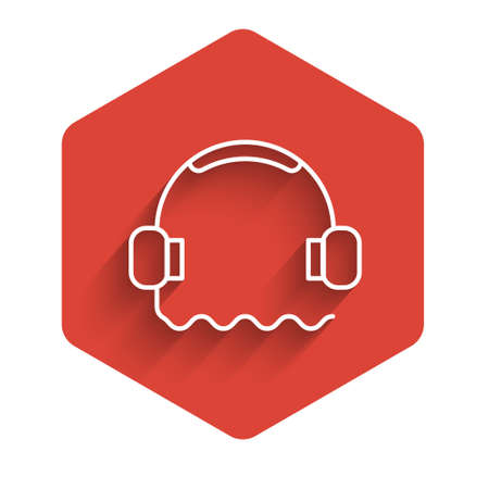 White line Headphones icon isolated with long shadow. Support customer service, hotline, call center, faq, maintenance. Red hexagon button. Vector Illustration