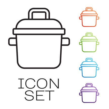 Black line Cooking pot icon isolated on white background. Boil or stew food symbol. Set icons colorful. Vector